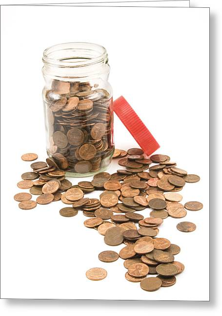 Penny Greeting Cards - Pennies And Jar On White Background Greeting Card by Keith Webber Jr