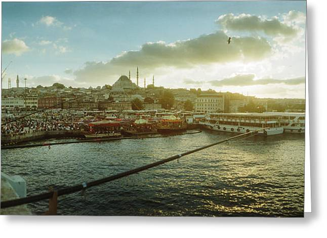 Medium Group Of People Greeting Cards - People Fishing In The Bosphorus Strait Greeting Card by Panoramic Images