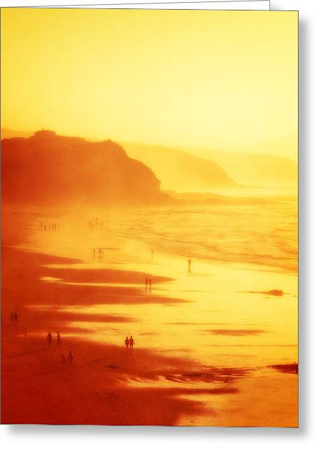Pais Vasco Greeting Cards - people in Sopelana beach with haze Greeting Card by Mikel Martinez de Osaba