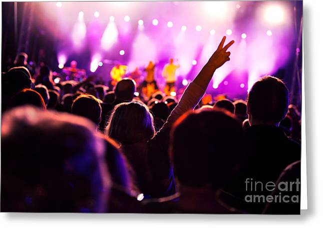 Applaud Photographs Greeting Cards - People on music concert Greeting Card by Michal Bednarek
