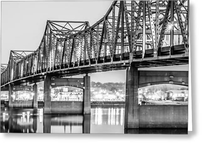 Peoria Greeting Cards - Peoria Illinois Bridge Panoramic Picture Greeting Card by Paul Velgos