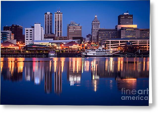 Riverfront Greeting Cards - Peoria Illinois Skyline at Night Greeting Card by Paul Velgos