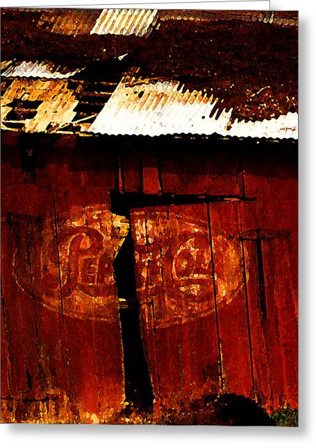 Fire In The Wood Greeting Cards - Pepsi Barn Greeting Card by Ron Regalado