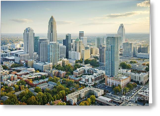 Clear Sky Images Greeting Cards - Perfect Charlotte Skyline Greeting Card by Clear Sky Images
