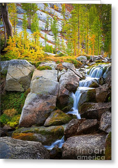 Leavenworth Greeting Cards - Perfection Lakes Falls Greeting Card by Inge Johnsson