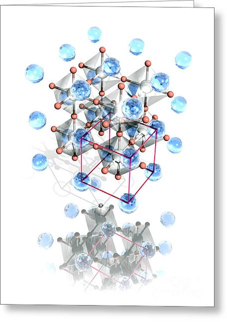 Calcium Oxide Greeting Cards - Perovskite Crystal Structure Greeting Card by Laguna Design