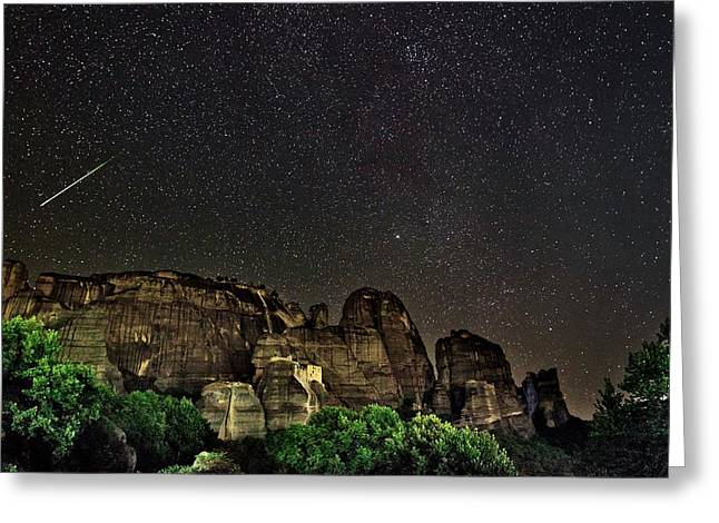Perseid Meteor Track Over Meteora Greeting Card by Babak Tafreshi