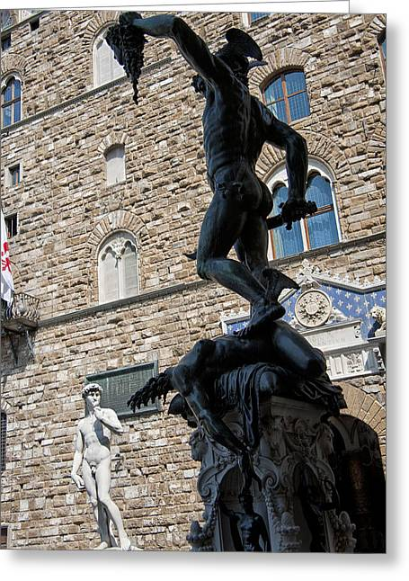 Michelangelo Greeting Cards - Perseus By Cellini Greeting Card by Melany Sarafis