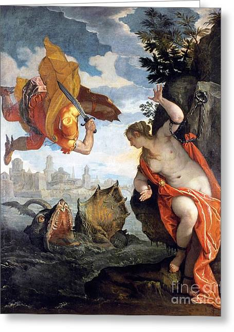 1576 Greeting Cards - Perseus rescuing Andromeda Greeting Card by Pg Reproductions