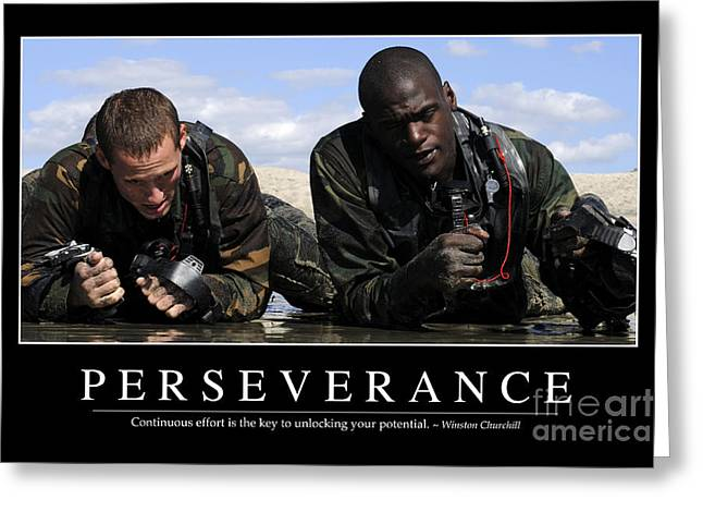 Navy Seals Greeting Cards - Perseverance Inspirational Quote Greeting Card by Stocktrek Images