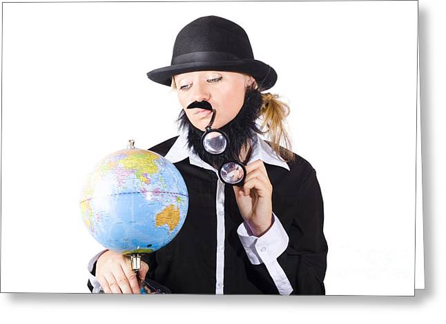 Mustache Greeting Cards - Person examining world globe on white Greeting Card by Ryan Jorgensen