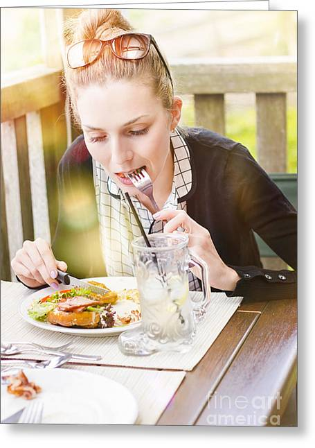 Real Life Greeting Cards - Person on outdoor restaurant deck eating lunch Greeting Card by Ryan Jorgensen