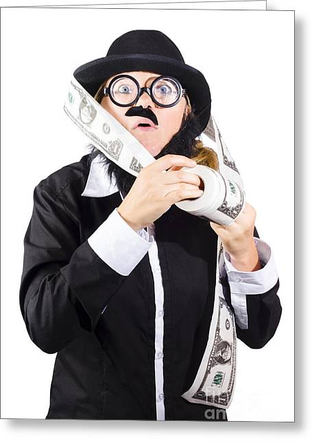 Earnings Greeting Cards - Person with roll of money Greeting Card by Ryan Jorgensen