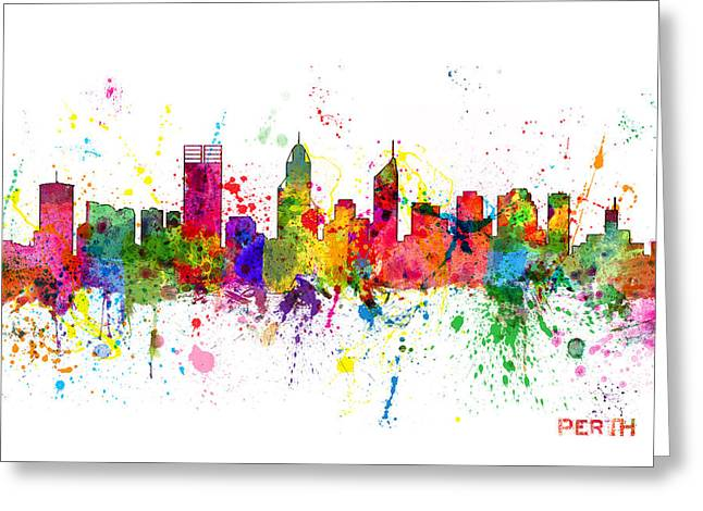 Australian Poster Greeting Cards - Perth Australia Skyline Greeting Card by Michael Tompsett