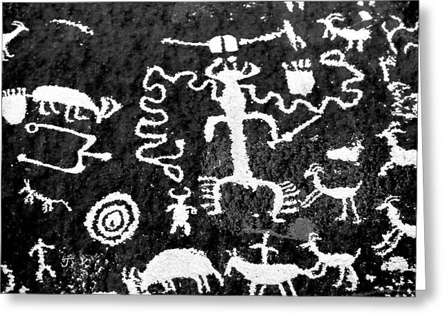 Petroglyphs Of Newspaper Rock State Greeting Card by Panoramic Images