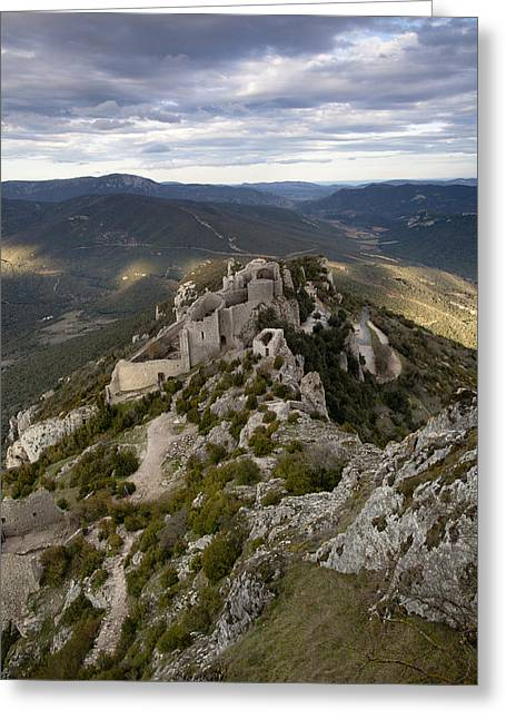 Languedoc Greeting Cards - Peyrepertuse castle Greeting Card by Ruben Vicente