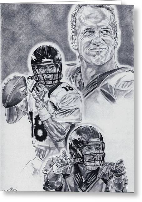 Pro Football Drawings Greeting Cards - Peyton Manning Greeting Card by Jonathan Tooley