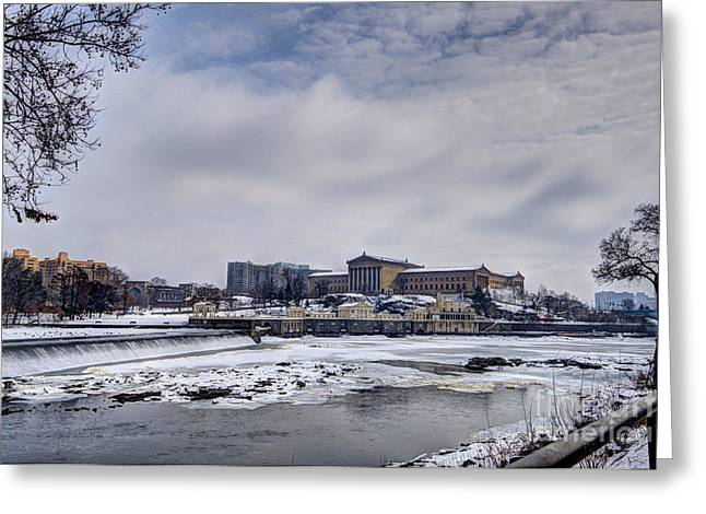 Williams Dam Greeting Cards - Philadelphia Art Museum Winter Greeting Card by Mark Ayzenberg