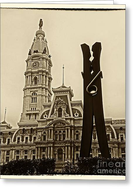 City Hall Greeting Cards - Philadelphia Clothespin 2 Greeting Card by Jack Paolini