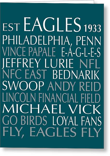 Football Words Greeting Cards - Philadelphia Eagles Greeting Card by Jaime Friedman