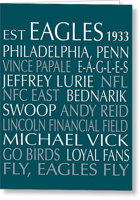 Philadelphia Greeting Cards - Philadelphia Eagles Greeting Card by Jaime Friedman