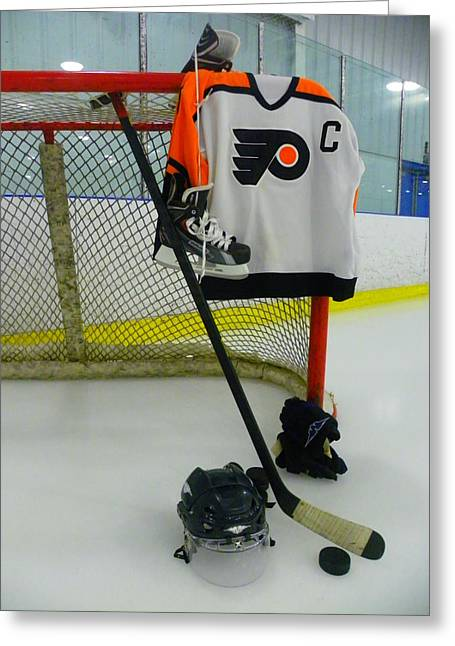 Glove Greeting Cards - Philadelphia Flyers Away Hockey Jersey Greeting Card by Lisa Wooten