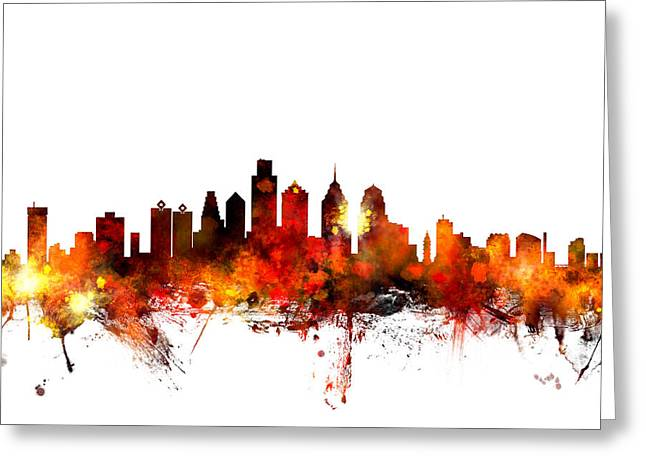 States Greeting Cards - Philadelphia Pennsylvania Skyline Greeting Card by Michael Tompsett