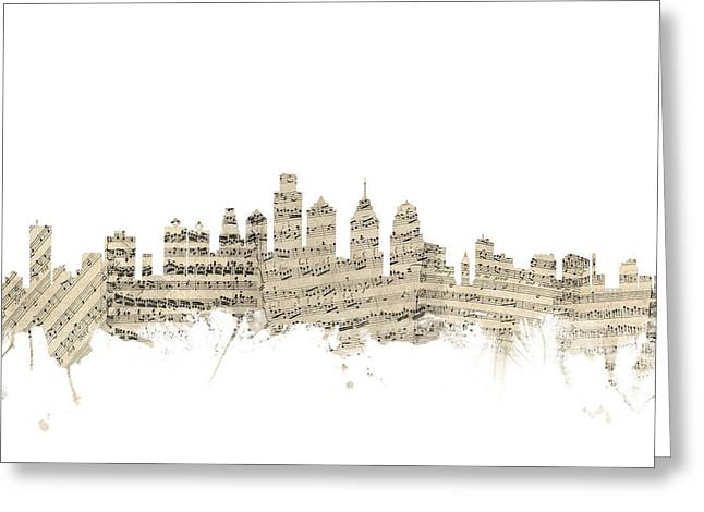 Philadelphia Skyline Greeting Cards - Philadelphia Pennsylvania Skyline Sheet Music Cityscape Greeting Card by Michael Tompsett