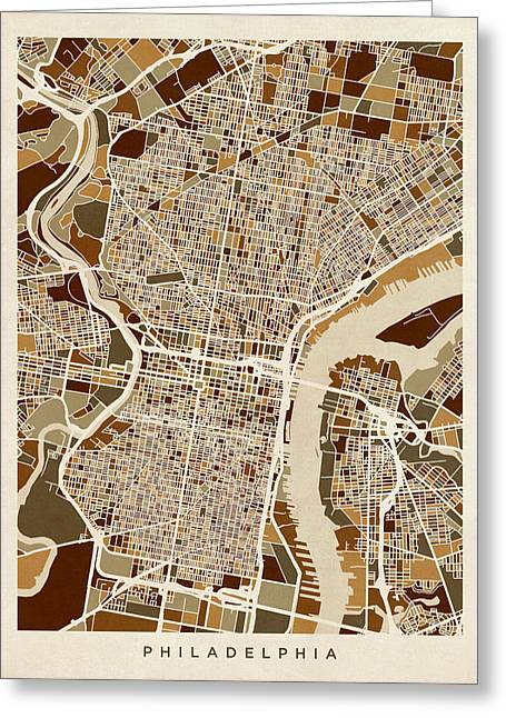 Streets Digital Greeting Cards - Philadelphia Pennsylvania Street Map Greeting Card by Michael Tompsett