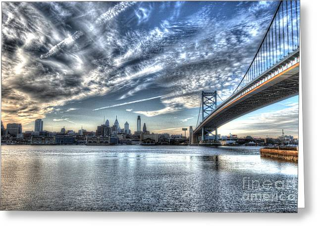 Williams Dam Photographs Greeting Cards - Philadelphia Skyline - Camden View of Ben Franklin Bridge Greeting Card by Mark Ayzenberg