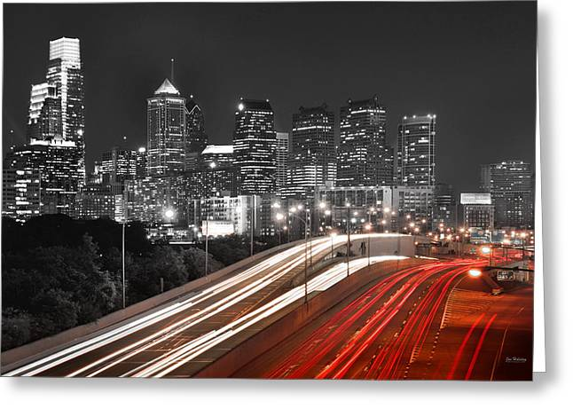 Philadelphia Skyline Greeting Cards - Philadelphia Skyline at Night Black and White BW  Greeting Card by Jon Holiday