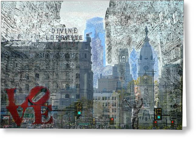 Phillies Digital Greeting Cards - Philly Greeting Card by Bill Cannon
