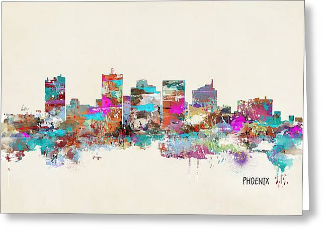 Phoenix Prints Greeting Cards - Phoenix Arizona Skyline Greeting Card by Bri Buckley