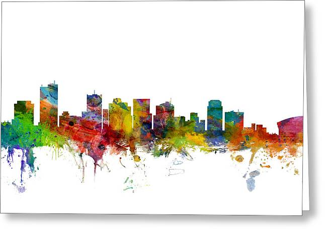 Skyline Greeting Cards - Phoenix Arizona Skyline Greeting Card by Michael Tompsett