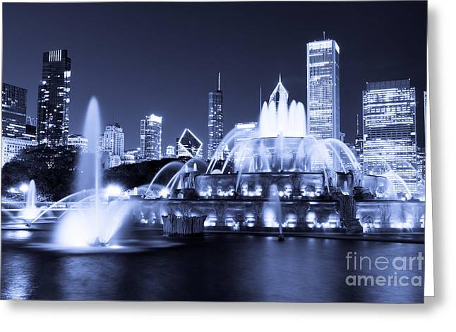 Spraying Greeting Cards - Photo of Chicago at Night with Buckingham Fountain Greeting Card by Paul Velgos