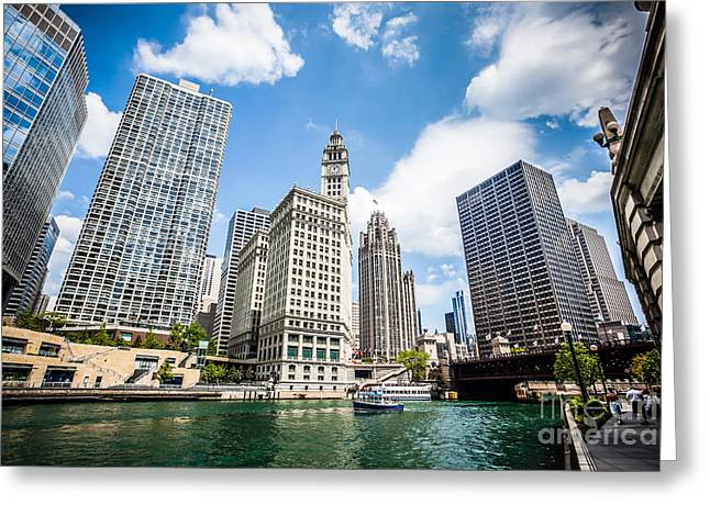 Architecture Greeting Cards - Photo of Chicago Downtown River Buildings Greeting Card by Paul Velgos