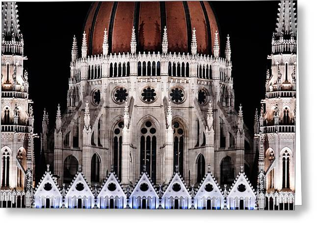 Night Scenes Pyrography Greeting Cards - Photo of the hungarian parlament at night Greeting Card by Oliver Sved