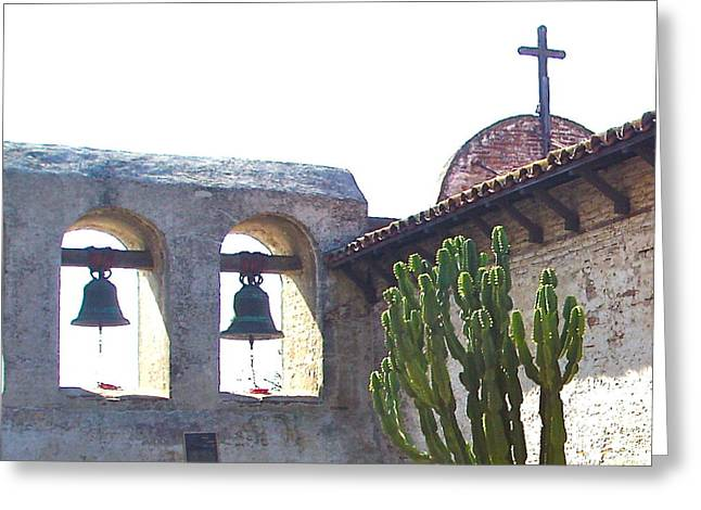 The Wooden Cross Photographs Greeting Cards - Photo of Two Bells and Cross Greeting Card by Jan Mecklenburg