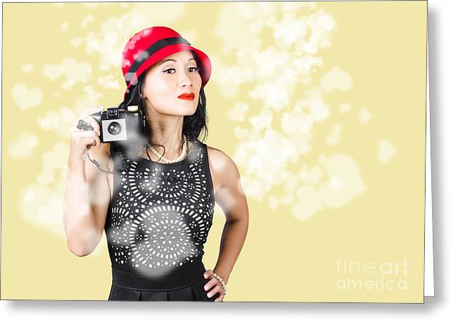 Creative People Greeting Cards - Photographer taking photos with retro film camera Greeting Card by Ryan Jorgensen