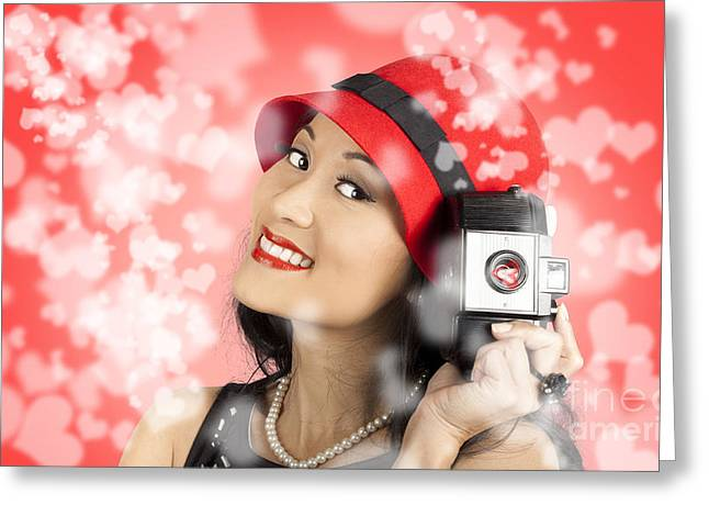 Special Moment Greeting Cards - Photographer woman with camera. Photography love Greeting Card by Ryan Jorgensen