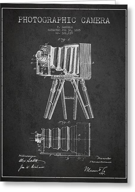Technical Digital Art Greeting Cards - Photographic Camera Patent Drawing from 1885 Greeting Card by Aged Pixel