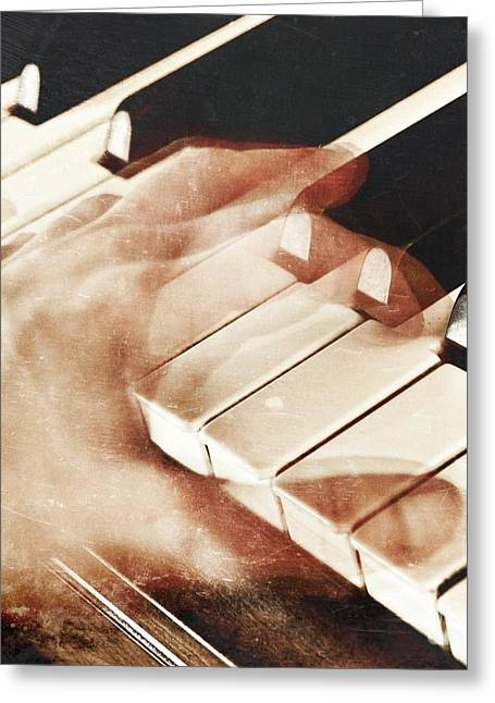 Playing Piano Greeting Cards - Piano Greeting Card by HD Connelly