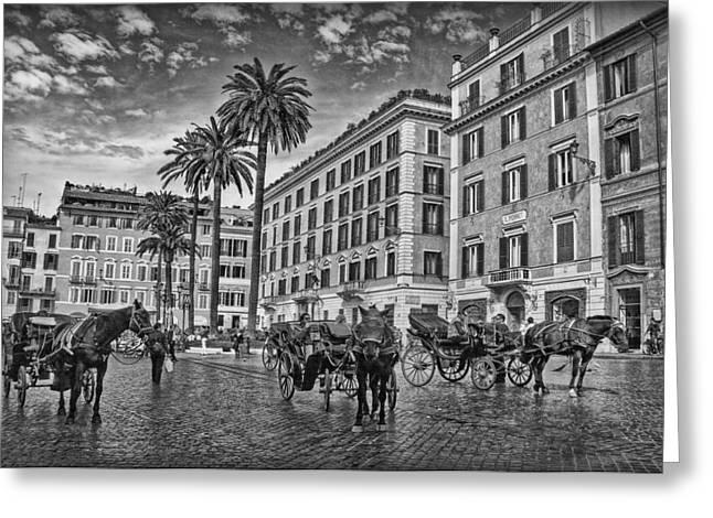Himmel Greeting Cards - Piazza di Spagna B/W Greeting Card by Hanny Heim