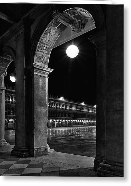 Silent Night Greeting Cards - Piazza San Marco 2 Greeting Card by Marion Galt