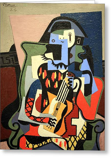 Picasso's Harlequin Musician Greeting Card by Cora Wandel