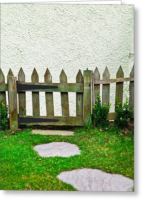 Trellis Photographs Greeting Cards - Picket fence Greeting Card by Tom Gowanlock