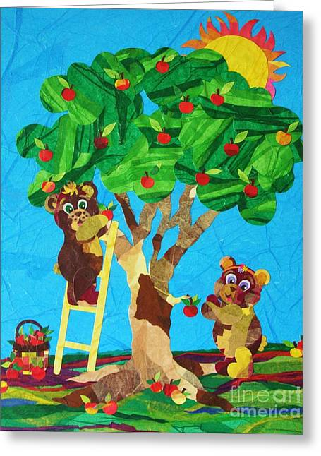Pickin Apples Greeting Card by Diane  Miller