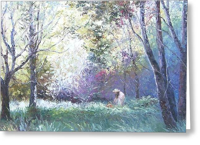 Figure In Oil Greeting Cards - Picking Wildflowers Greeting Card by Jan Matson