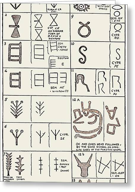 Overturn Greeting Cards - Pictographs And Linear Script Symbols Greeting Card by Sheila Terry