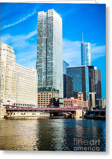 Downtown Franklin Greeting Cards - Picture of Chicago River Skyline at Franklin Bridge Greeting Card by Paul Velgos